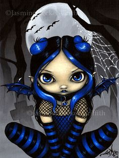 Actually a commissioned logo design that also makes a really cute painting! A little goth fairy with some bats! My own original acrylic painting.
