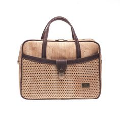 Vegan Cork Satchel Bag with a laser cut design on the front pocket. Eco-friendly, durable and made in Portugal with Portuguese cork. Montado – Cork Fashion.