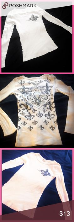 White saints Rhinestone shirt Size extra small. Rhinestones and crystals. NWOT. Perfect condition Tops