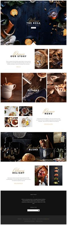Rosa is restaurant WordPress theme build to help restaurant and other culinary o. - Rosa is restaurant WordPress theme build to help restaurant and other culinary owners to shape an e - Coperate Design, Web Design Blog, Food Web Design, Website Design Layout, Menu Design, Page Design, Layout Design, Design Trends, Design Model