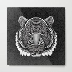 tiger face aztec pattern Metal Print @pointsalestore   @society6threesecond #metalprint #Drawing #Graphite #Inkpen #Digital #Blackandwhite #Pattern #Artdeco #Artdeco #Tiger #Animal #Mandala #Mandalas #Design #Thunder #Cats #Aztec #Mayan #American #Native #Tattoo #Gryffindor