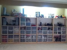 YES. Finally neat looking Lego storage. Sterilite draws with DIY custom made cupboards to house it.