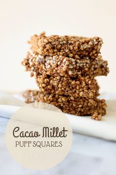 Cacao Millet Puff Squares | SoFawned.com Squares, Cereal, Goodies, Snacks, Breakfast, Healthy, Desserts, Recipes, How To Make