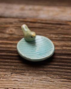 Wood Grain Pottery Tray with Tiny Green Bird  by tashamckelvey