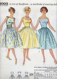 Simplicity 3002 vintage pattern for a trio of Bouffant dresses Dress Making Patterns, Vintage Dress Patterns, Clothing Patterns, Vintage Outfits, Vintage Dresses, 1950s Dresses, Vintage Clothing, 1950s Fashion, Vintage Fashion