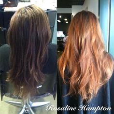 """Our beautiful client Alicia came in wanting to """"va-voom"""" her brown and chose a shade similar to the hair color of the year with dimensional strawberry blonde tones!  Flamboyage and cut by Master Stylist Rosaline #davines #flamboyage #RosalineHampton"""