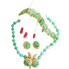 Vintage Parures @ Ruby Lane - Spectacular Jomaz Vintage Faux jade Carved Necklace,Bracelet, Brooch & Earrings