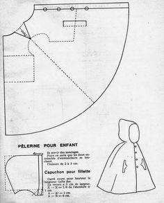 Marvelous Photo of Cloak Sewing Pattern Cloak Sewing Pattern The 1951 Kids Hooded Cloak Cloaks Capes And Hoods Doll Clothes Patterns, Sewing Clothes, Doll Patterns, Clothing Patterns, Diy Clothes, Sewing Patterns, Sewing Tutorials, Sewing Hacks, Sewing Crafts