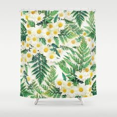Textured Vintage Daisy and Fern Pattern  Shower Curtain