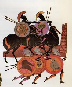 Leo and Diane Dillon Heros at Troy Classical Greece, Classical Art, Ancient Greek Art, Ancient Greece, Bayeux Tapestry, Greek Warrior, Greek Pottery, Greek And Roman Mythology, Greek Culture