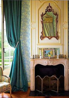 Small, French, pink marble fireplace.