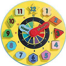 Melissa & Doug Wooden Shape Sorting Learning Clock (3-5 yrs)