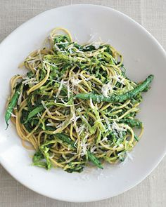 Multi-Grain Pasta with Sicilian Salsa Verde, Cabbage, and Haricots Verts from Epicurious.com #myplate #veggies