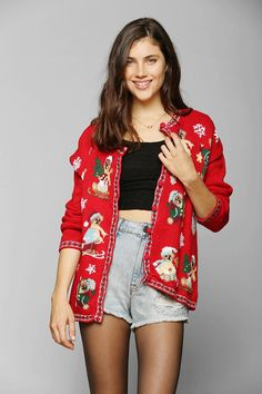 Urban Renewal Vintage Ugly Christmas Cardigan