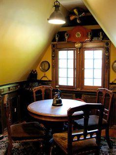 Steampunk dining nook.