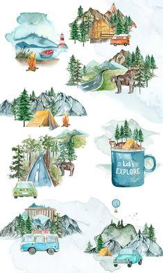 Watercolor Clipart, Watercolor Map, Watercolor Background, Watercolor Landscape, Watercolor Paintings, Watercolor Stickers, Fun Illustration, Watercolor Illustration, Building Illustration
