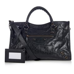 Balenciaga Classic City leather tote ($1,835) ❤ liked on Polyvore featuring bags, handbags, tote bags, black purse, black studded tote, black leather tote bag, genuine leather tote and leather tote