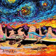 """Coyote and Road Runner Art - Looney Tunes Inspired Starry Night - Cartoon Art - PRINT - van Gogh Never Caught Road Runner - Art by Aja 8x8, 10x10, 12x12, 20x20, 24x24 inches. Thank you for your interest in my art - ***Please read entire description of item.*** This is a print - it NOT a painting. It is not on canvas. It is not framed. I do offer canvas options, please see other listings. This stunning print of my original painting entitled """"van Gogh Was Never Caught Road Runner"""" utilizes…"""