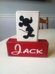 Disney Mickey Mouse personalized name blocks you choose your Mickey topper primitive rustic country distressed