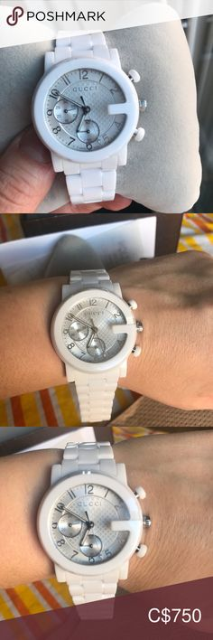 Women's authentic ceramic Gucci watch 10 out of 10 in great condition never been sized links  still on the watch was purchased in Holt Renfrew years ago as a gift. Gucci Accessories Watches