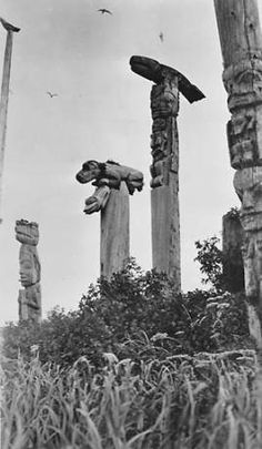 Tlingit totem poles, Northwest Coast of North America, ca. 1905 :: American Indians of the Pacific Northwest -- Image Portion