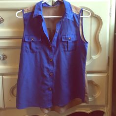 Blue and tan Forever 21 flowy tank Super cute flowy tank! Pretty blue color with back side all brown. Perfect with leggings is jeans!! Forever 21 Tops Blouses