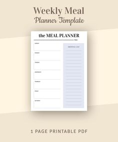 Weekly Meal Planner With Shopping List Printable Weekly Menu Weekly Meal Planner Template, Weekly Menu Planners, Weekly Planner Printable, Passion Planner, Diary Planner, Printable Shopping List, Planner Sheets, Checklist Template, Meals For The Week