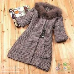 Knitting Patterns Coat Moda 'Beautiful taupe knitted coat in garter stitch' Crochet Baby Poncho, Crochet Coat, Knitted Coat, Crochet Jacket, Knit Jacket, Crochet Clothes, Knitting For Kids, Baby Knitting Patterns, Crochet For Kids