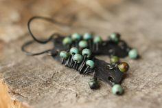 Turquoise & Czech Glass Dangle Earrings by Sparrowtaledesign, $28.00