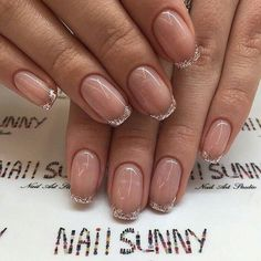 French Manicure Almond Nails Gold Glitter 21 Ideas For 2019 Dream Nails, Love Nails, Pink Nails, Pretty Nails, My Nails, Manicure Nail Designs, Nail Manicure, Nail Polish, Nagel Hacks