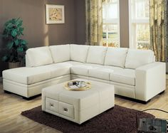 Sebo Collection Leather Sectional in Cream