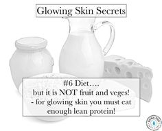 It's not what you think! Concentrate on PROTEIN, not just fruit and vegetables for glowing, tighter, younger looking skin. Click for more skin glowing skin tips! glowing skin secrets | glow skin how to | glowing skin mask | how to get glowing skin | glowing skin DIY | glowing skin natural remedies | glowing skin products | glowing skin mask