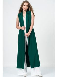 Blazer yaka uzun zümrüt yelek Long Vest Outfit, Vest Outfits, Boho Outfits, Muslim Fashion, Hijab Fashion, Fashion Dresses, Embroidery On Clothes, Fashion 2018, Womens Fashion