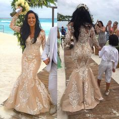 Classy Prom Dresses, Champagne Luxury New Beach Mermaid Wedding Dresses Custom Made Lace Appliques Long Sleeves Robe De Mariage Button Back Bridal Gowns Prom Dresses Long Sheer Wedding Dress, Lace Mermaid Wedding Dress, Wedding Dress Sleeves, Long Sleeve Wedding, Mermaid Dresses, Pageant Dresses For Teens, Classy Prom Dresses, Elegant Bridesmaid Dresses, Dresses Uk