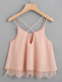 Shop Lace Hem Criss Cross Back Strappy Top online. SheIn offers Lace Hem Criss C. - Shop Lace Hem Criss Cross Back Strappy Top online. SheIn offers Lace Hem Criss Cross Back Strappy Top & more to fit your fashionable needs. Girls Fashion Clothes, Teen Fashion Outfits, Mode Outfits, Girl Fashion, Girl Outfits, Casual Outfits, Fashion Design, Womens Fashion, Fashion Black