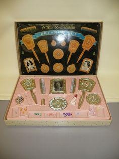 Vintage Hasbro Jr Miss do It Yourself Dresser Set in Box 2320 w Jewelry Mirror | eBay