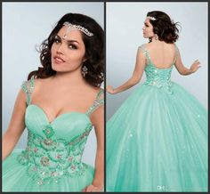 Princess Prom Wear Long Sage Pageant Ball Gown Capped Sleeve Beaded Crystals…