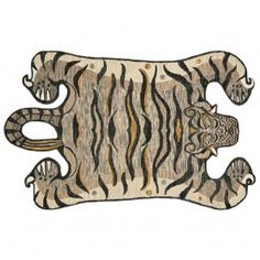 Decorate wild with the Feroz Collection, designed by Justina Blakeney for Loloi. Hooked of wool pile by artisans in India, this contemporary faux-tiger series makes for a true conversation piece in any space. Berry, Tiger Rug, Rug Company, Modern Bohemian, Animal Design, Home Decor Accessories, Habitats, Moose Art, Area Rugs