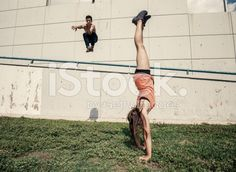 Practicing parkour in the city royalty-free stock photo