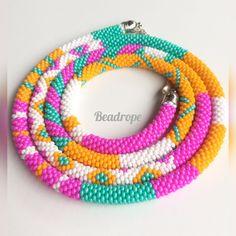 Pink Orange Mint White Bead Necklace, Beaded  Necklace, Crochet beaded Necklace Crochet Beaded Necklace, Bead Crochet, White Beads, Seed Beads, Mint, Orange, Shop, Handmade, Etsy