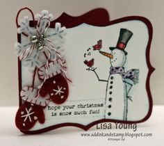 Unique way to cut top note die....you put your fold a little way into the die so the fold doesn't cut......(make two different colours) then cut the top layer along the stitch line to make it smaller so that the bottom layer forms a frame.....pretty smart....smaller card but darn cute!!! Add Ink and Stamp: Stitched Felt Gift Card Holders
