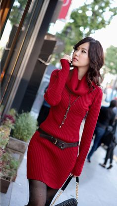 Mock Neck Long Sleeve Red Sweater Dress with Belt Estilo Fashion, Red Fashion, Look Fashion, Winter Fashion, Womens Fashion, Street Fashion, Female Fashion, Fashion News, Cute Valentines Day Outfits
