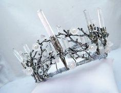 Quartz Crown Crystal Crown Branch Crown Wedding by DiademJewels
