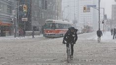 Bike Courier In A Snowstorm