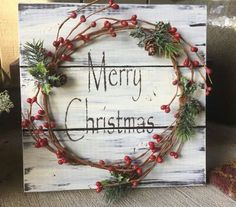 Christmas sign with pip berries - simplest board painting idea yet