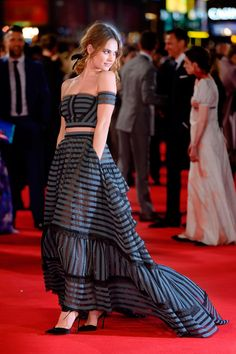 Lily James in Jessica McCormack at the London premiere of Pride And Prejudice And Zombies