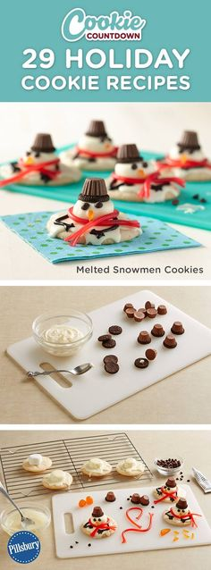 Get this fun Melted Snowman cookie recipe by signing up for our Pillsbury Cookie Countdown! You'll receive the cutest cookie recipes every day leading up to Christmas. Learn how to decorate your favorite easy recipes. Perfect for if you are hosting a cookie swap, exchange or party.