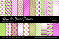 Lilac And Green Digital Papers Graphics Lilac And Green Patterns include 20 seamless (tileable) patterns (dots, chevron, stripes, squares, f by ZoollGraphics