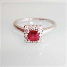 Princess cut Unconventional Engagement ring Ruby by CreativeENCI, $1785.00