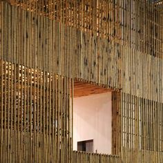New York architect Stan Allenconstructed this pavilion ofbamboo scaffolding at a former airport in Taichung, Taiwan.